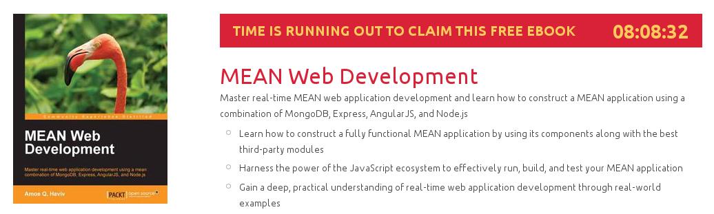 MEAN Web Development, ebook gratuito disponible durante las próximas 8 horas