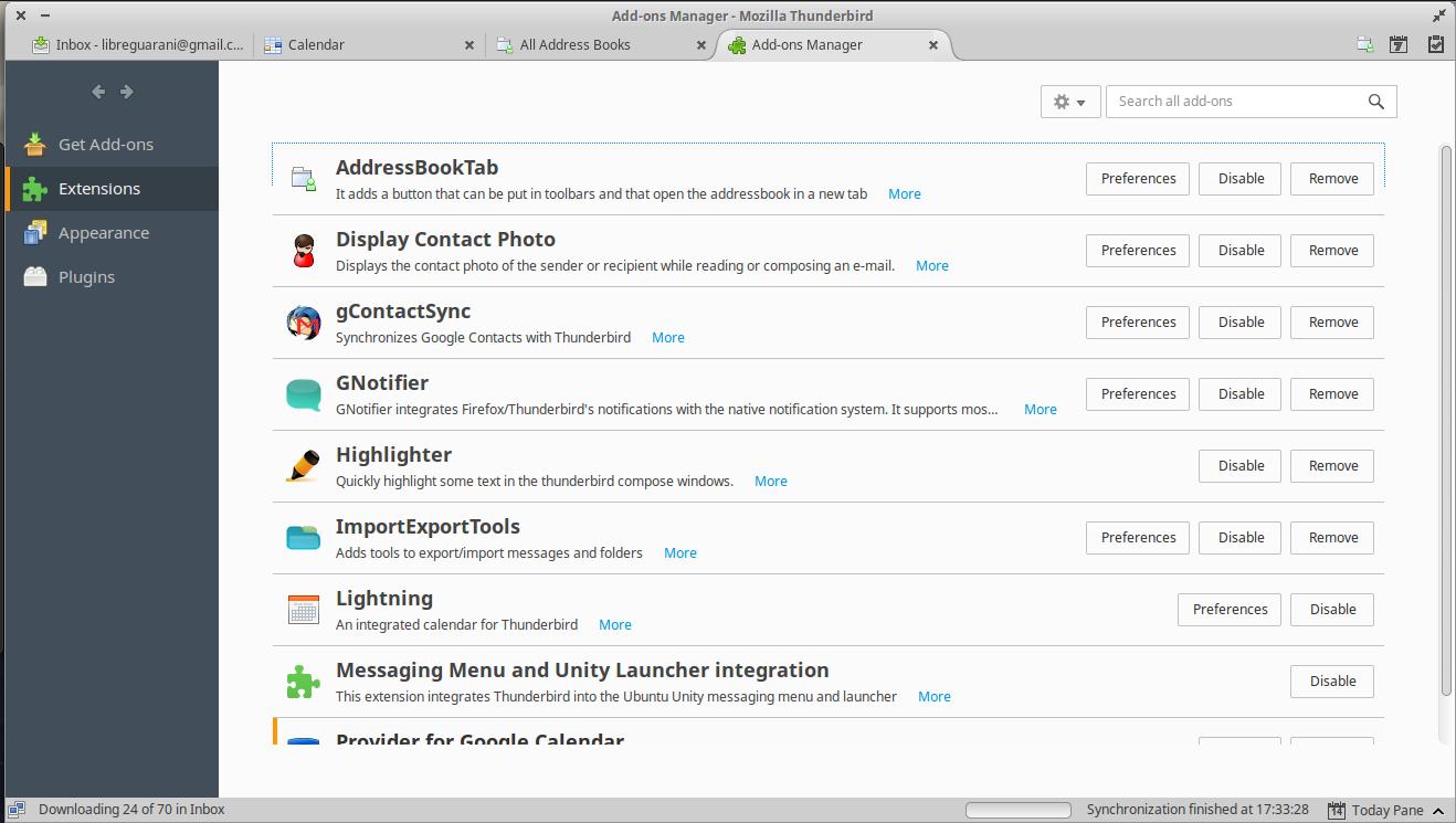 Complementos de Mozilla Thunderbird