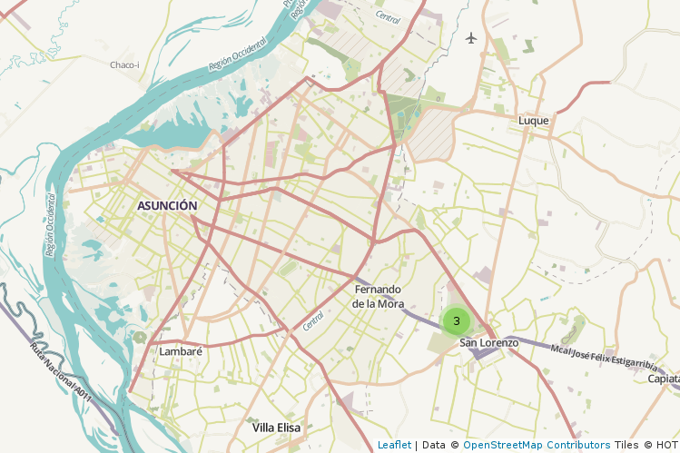 Mapa con el cluster al iniciar el sitio