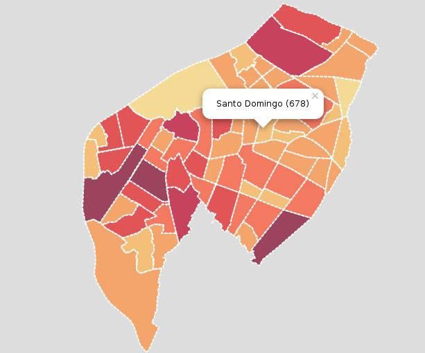 Mapa mostrando información por cada barrio