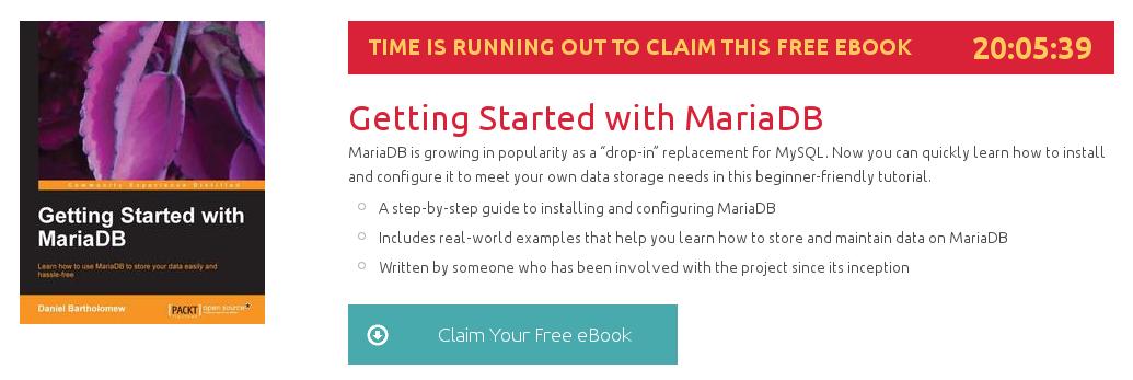 Getting Started with MariaDB, ebook gratuito disponible durante las próximas 19 horas