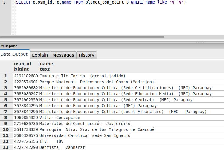 Obteniendo datos OSM de una consulta SQL