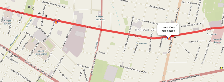 Mapa mostrando las estaciones de servicio que están en un área de influencia de 300 metros