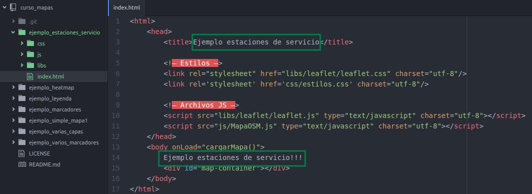 Modificación del index.html