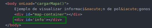 Agregar al index.html el div info