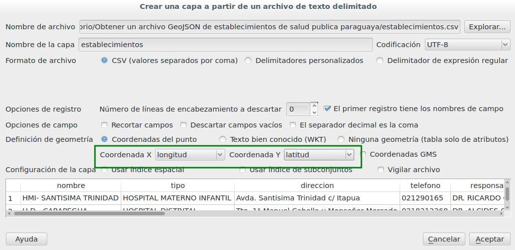 Importar archivo CSV y colocar longitud y latitud