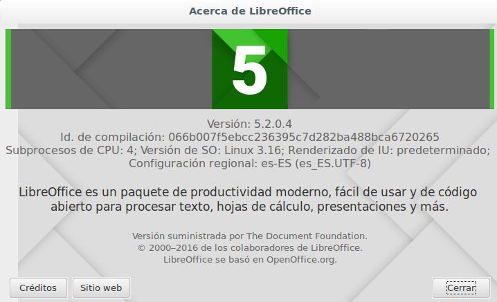 LibreOffice 5.2.0 en Ubuntu 14.04 LTS de 64 bits