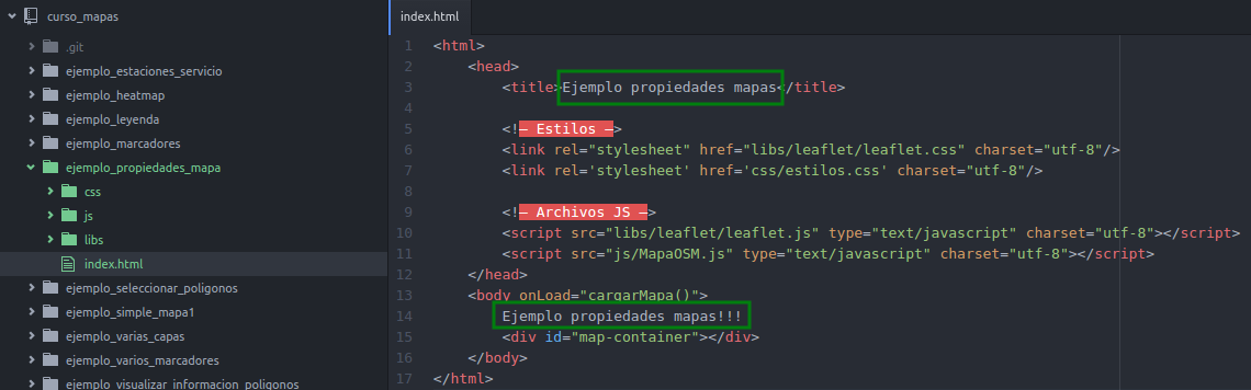 Modificaciones en el index.html