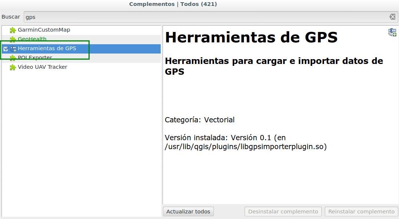 Herramientas de GPS en QGIS