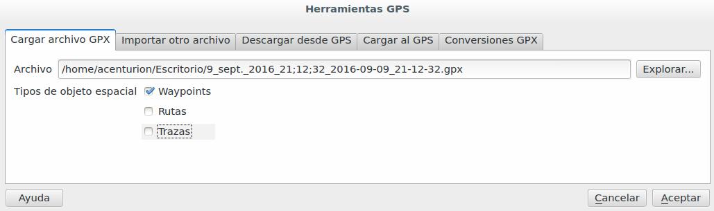 Importar GPX en QGIS