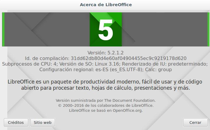 LibreOffice 5.2.1 en Ubuntu 14.04 LTS