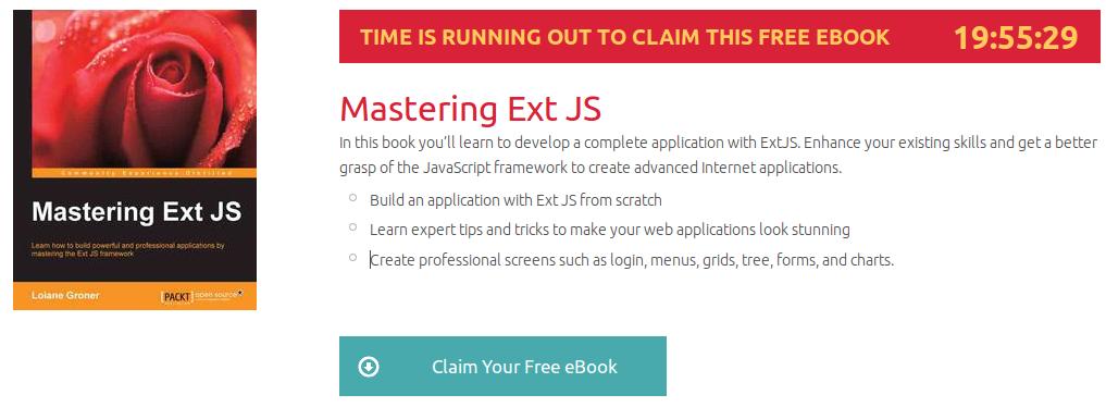 Mastering Ext JS, ebook gratuito disponible durante las próximas 19 horas