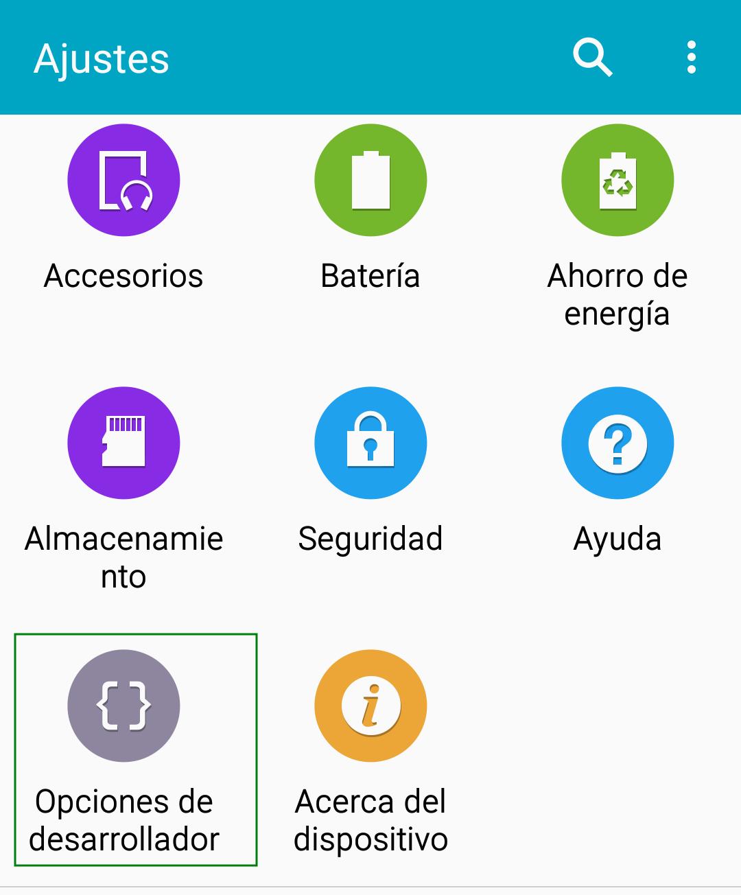 Modo desarrollador en un Samsung S5 con Android 6.0