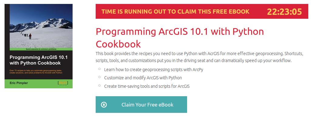 Programming ArcGIS 10.1 with Python Cookbook, ebook gratuito disponible durante las próximas 22 horas
