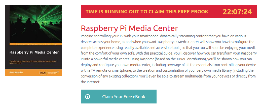 Raspberry Pi Media Center, ebook gratuito disponible durante las próximas 22 horas