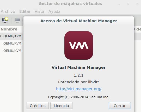 Virt-manager 1.2 en Ubuntu 14.04 LTS