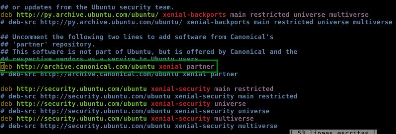 Habilitar repositorio de partner para Ubuntu 16.04 LTS