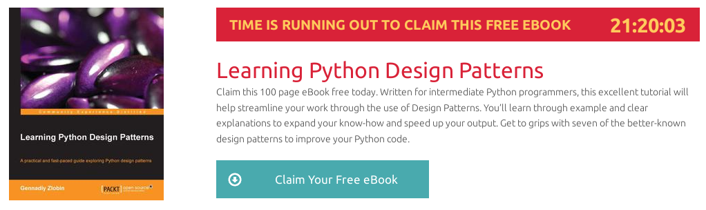 Learning Python Design Patterns, ebook gratuito disponible durante las próximas 21 horas