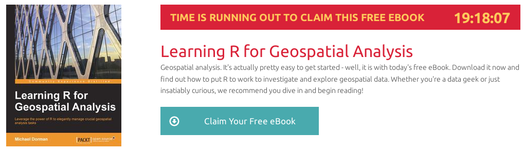 Learning R for Geospatial Analysis, ebook gratuito disponible durante las próximas 19 horas