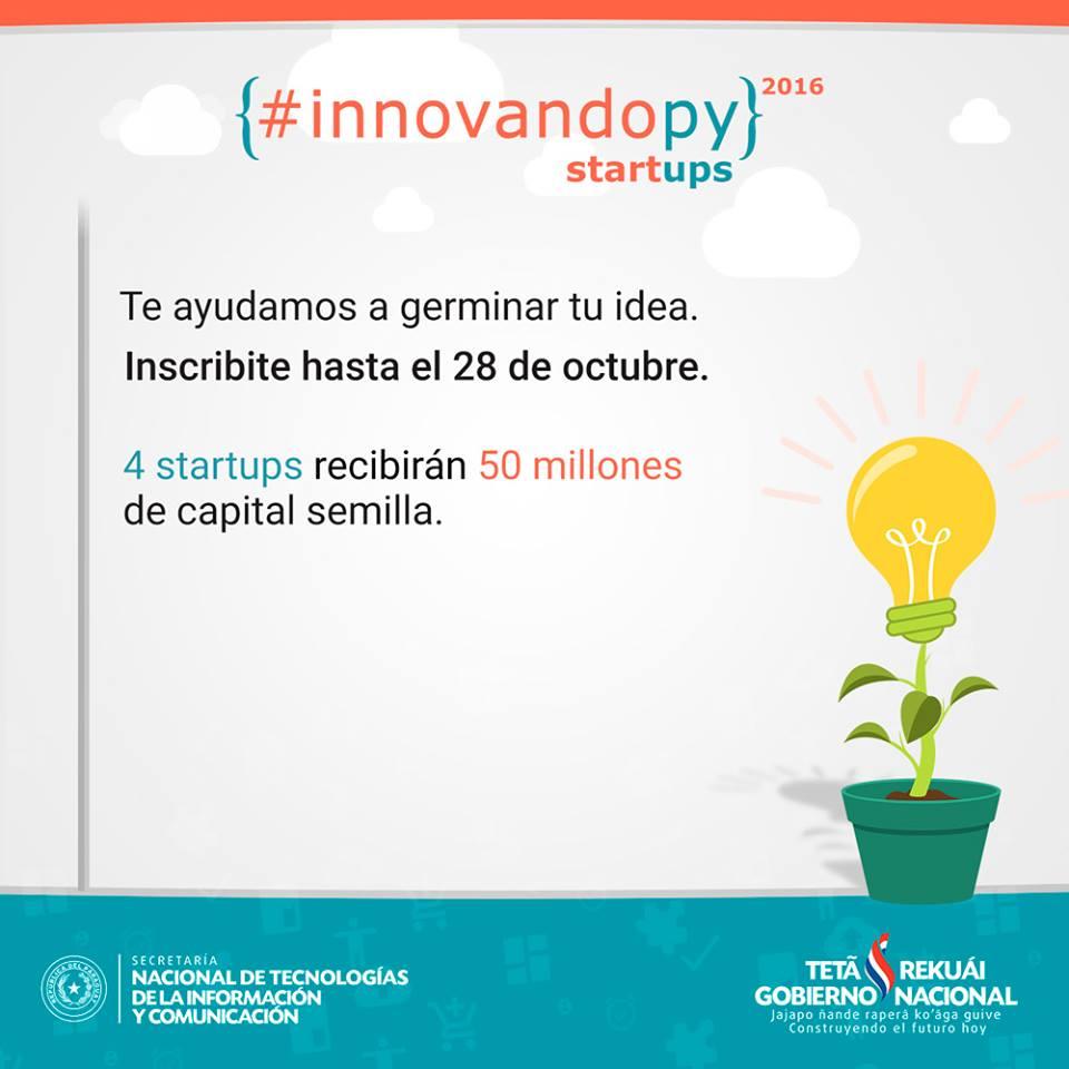 Se viene #InnovandoPY Startups - con 4 capitales semilla de 50 millones de guaraníes