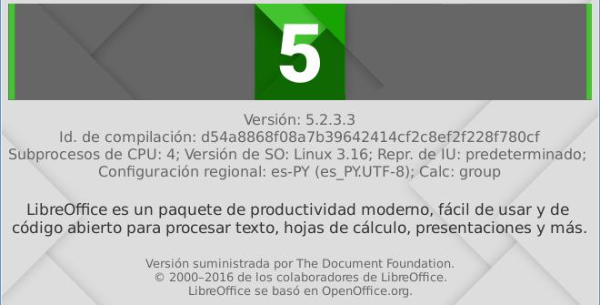 LibreOffice 5.2.3 en Debian Jessie de 64 bits