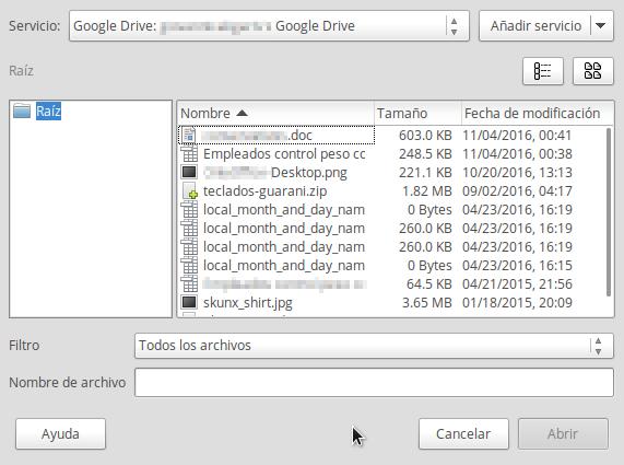 Google Drive en LibreOffice