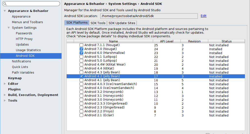 Agregando de forma offline API 17 en Android Studio