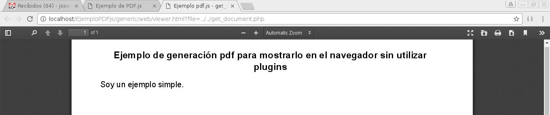 Ejemplo de visualizar un PDF sin utilizar plugins