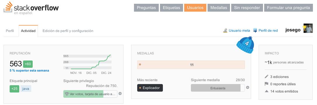 Mi perfil de StackOverFlow en Español