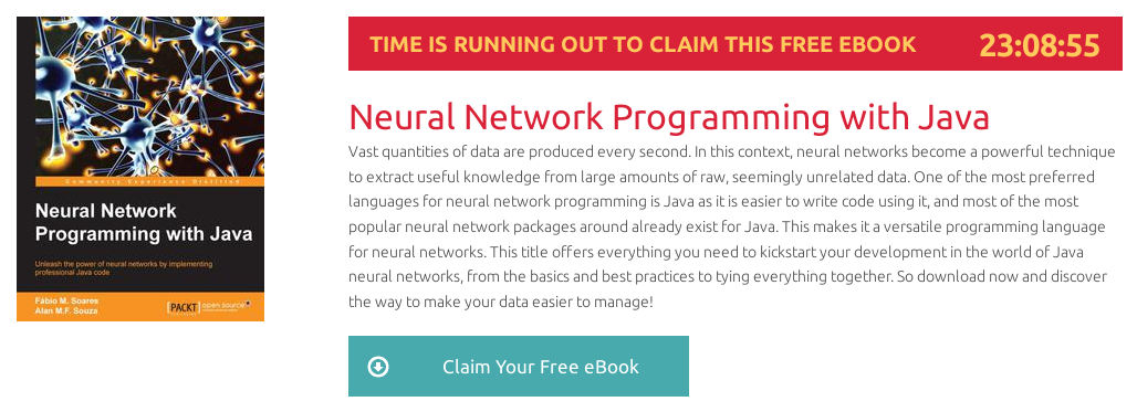 Neural Network Programming with Java, ebook gratuito disponible durante las próximas 22 horas
