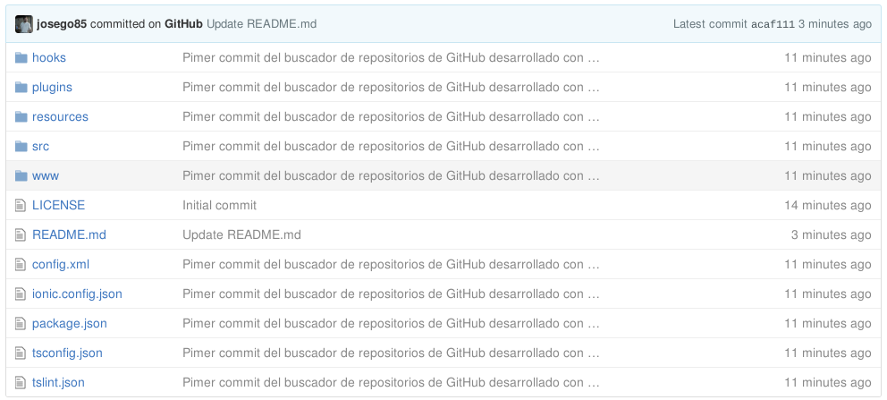 Proyecto de Ionic 2 en GitHub sin node_modules