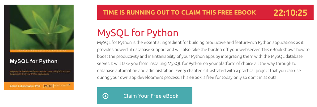 MySQL for Python, ebook gratuito disponible durante las próximas 22 horas