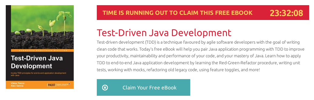 Test-Driven Java Development, ebook gratuito disponible durante las próximas 23 horas