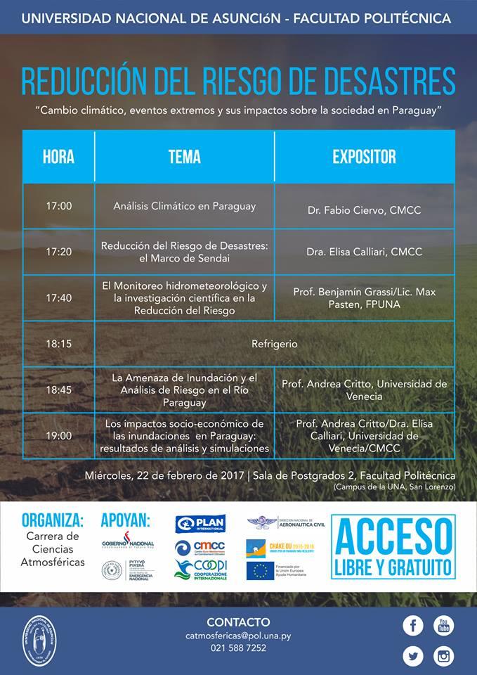 """Evento sobre reducción del riesgo de desastres - """"Cambio climático, eventos extremos y sus impactos sobre la sociedad en Paraguay"""""""