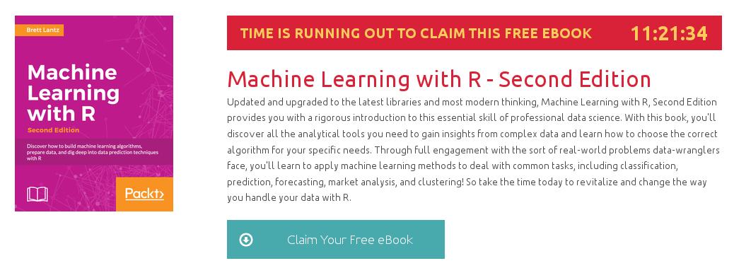 Machine Learning with R - Second Edition, ebook gratuito disponible durante las próximas 11 horas
