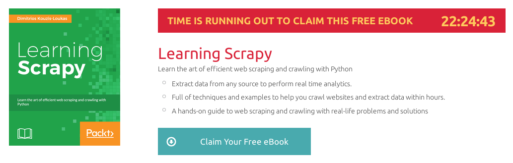 Learning Scrapy, ebook gratuito disponible durante las próximas 22 horas