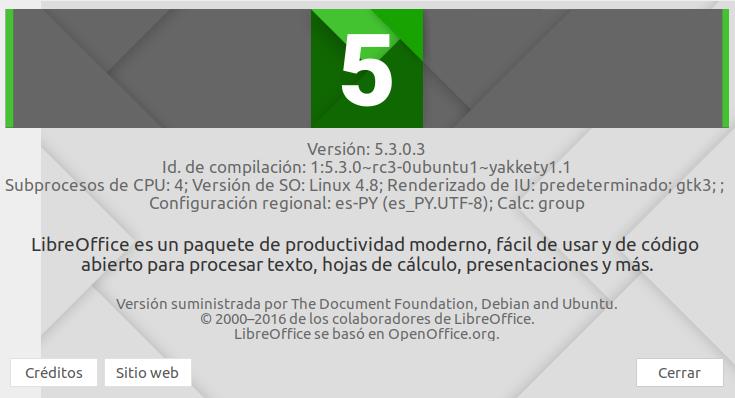 LibreOffice 5.3 en Ubuntu Yakkety 16.10