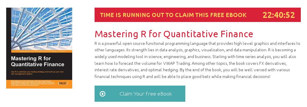 Mastering R for Quantitative Finance, ebook gratuito disponible durante las próximas 22 horas