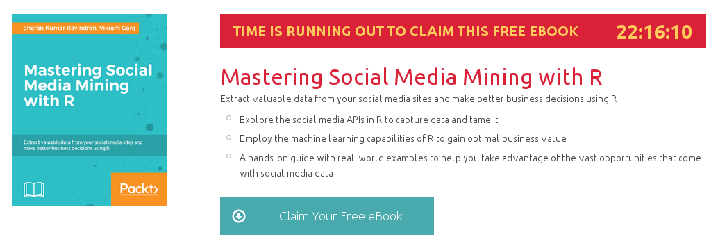 Mastering Social Media Mining with R, ebook gratuito disponible durante las próximas 22 horas