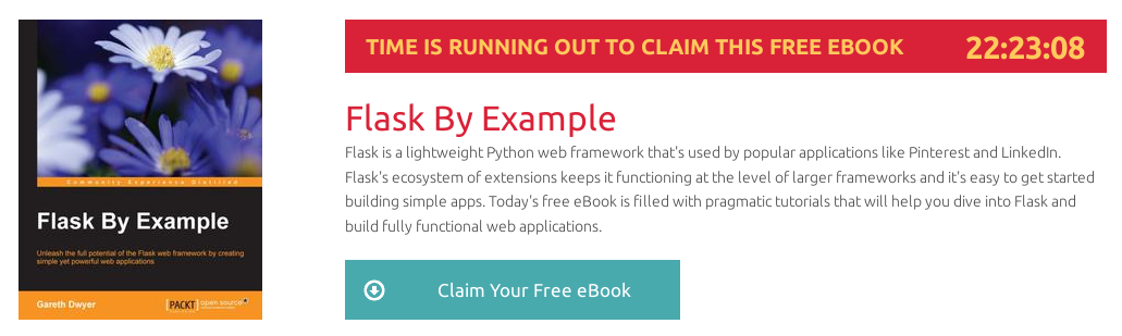 Flask By Example, ebook gratuito disponible durante las próximas 22 horas