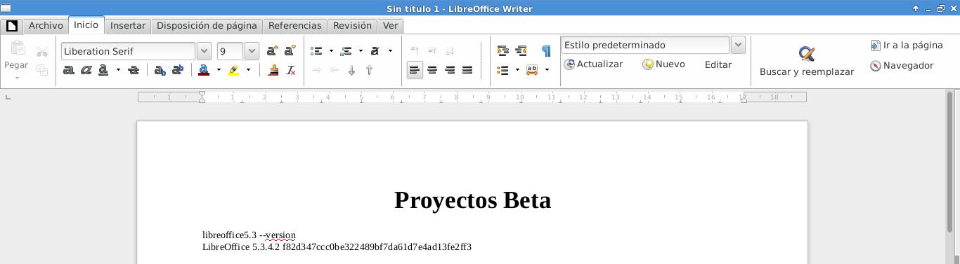 LibreOffice 5.3.4 en Debian Jessie de 64 bits.