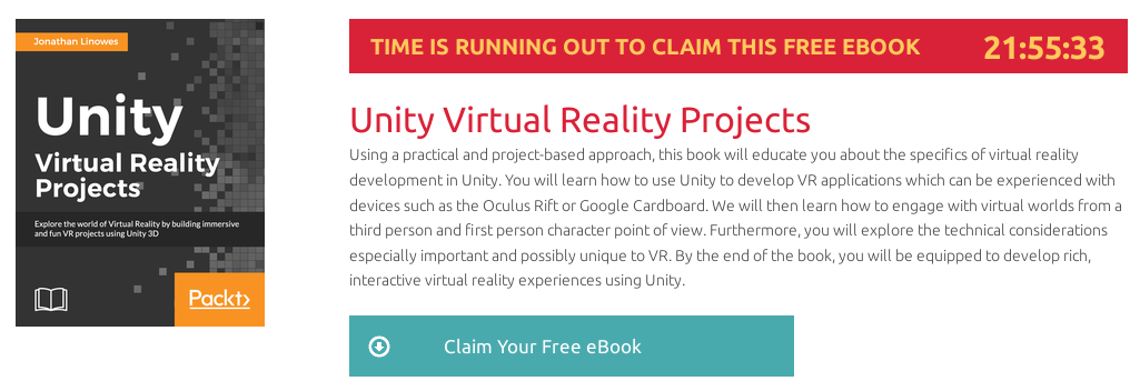 Unity Virtual Reality Projects, ebook gratuito disponible durante las próximas 21 horas