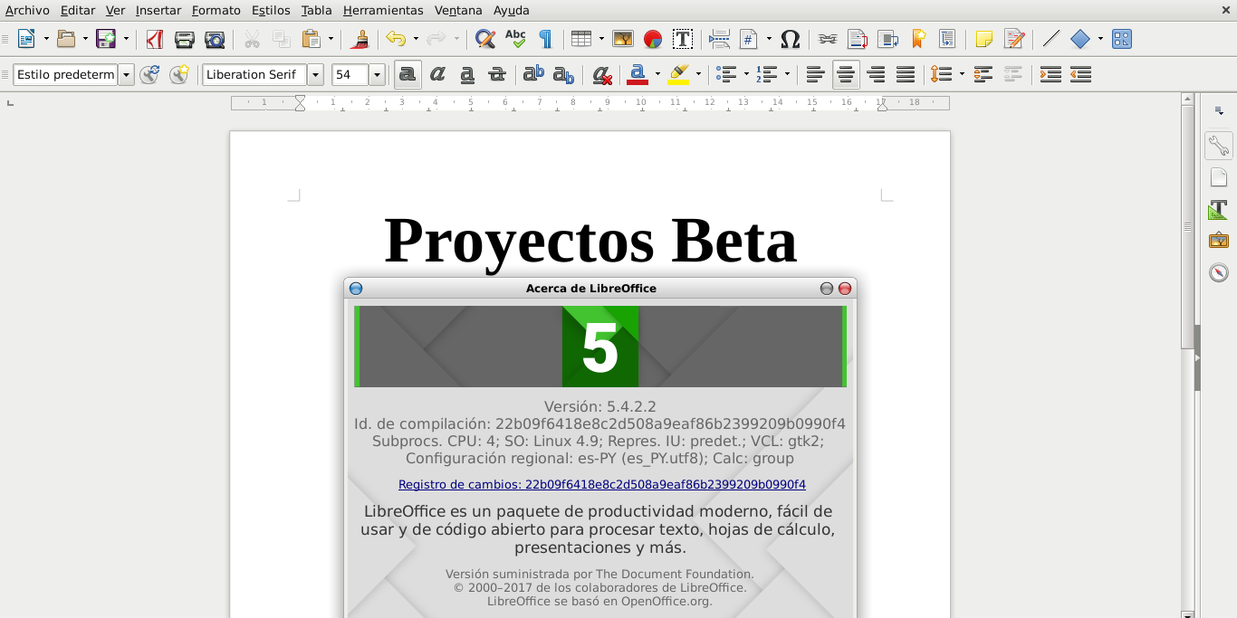LibreOffice 5.4.2 en Debian Stretch