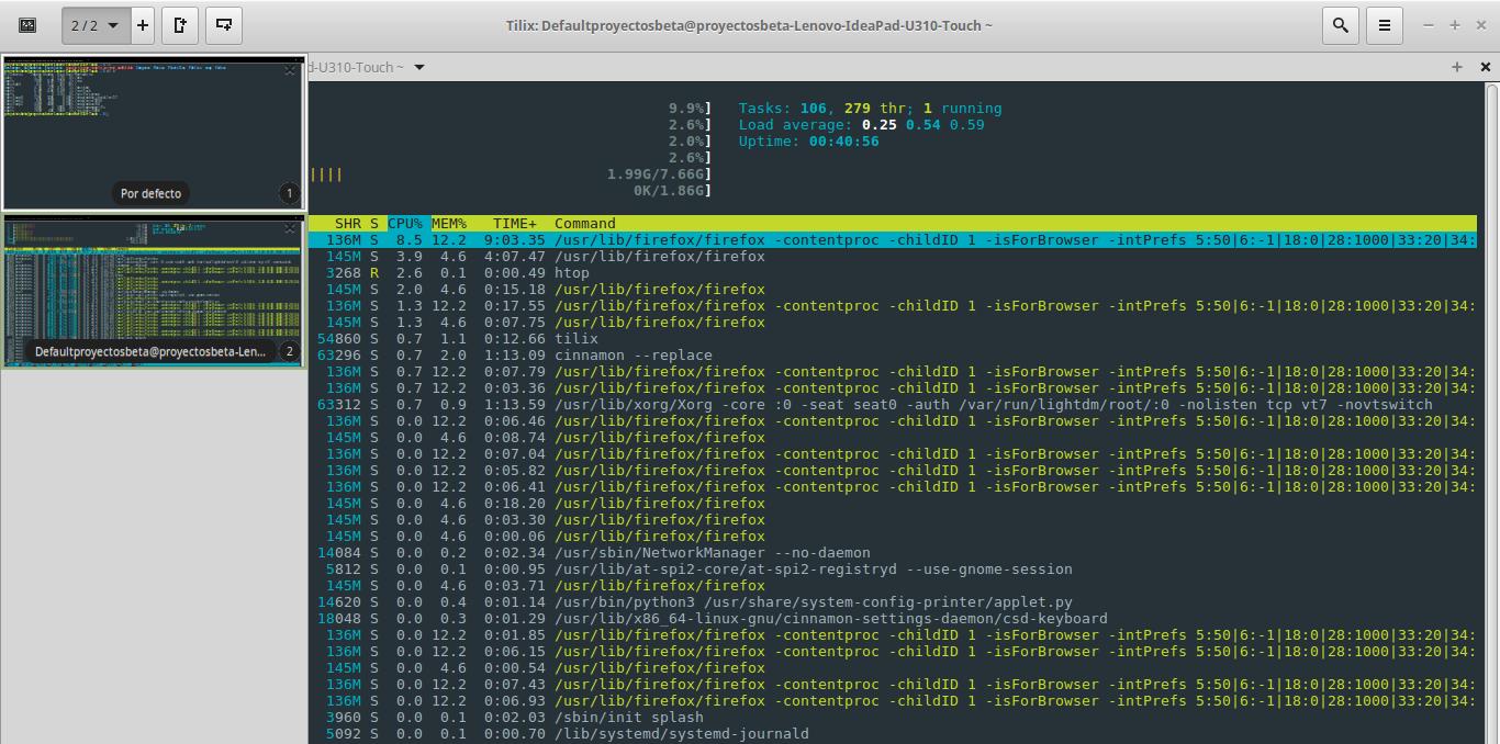 Tilix en Linux Mint 18.2