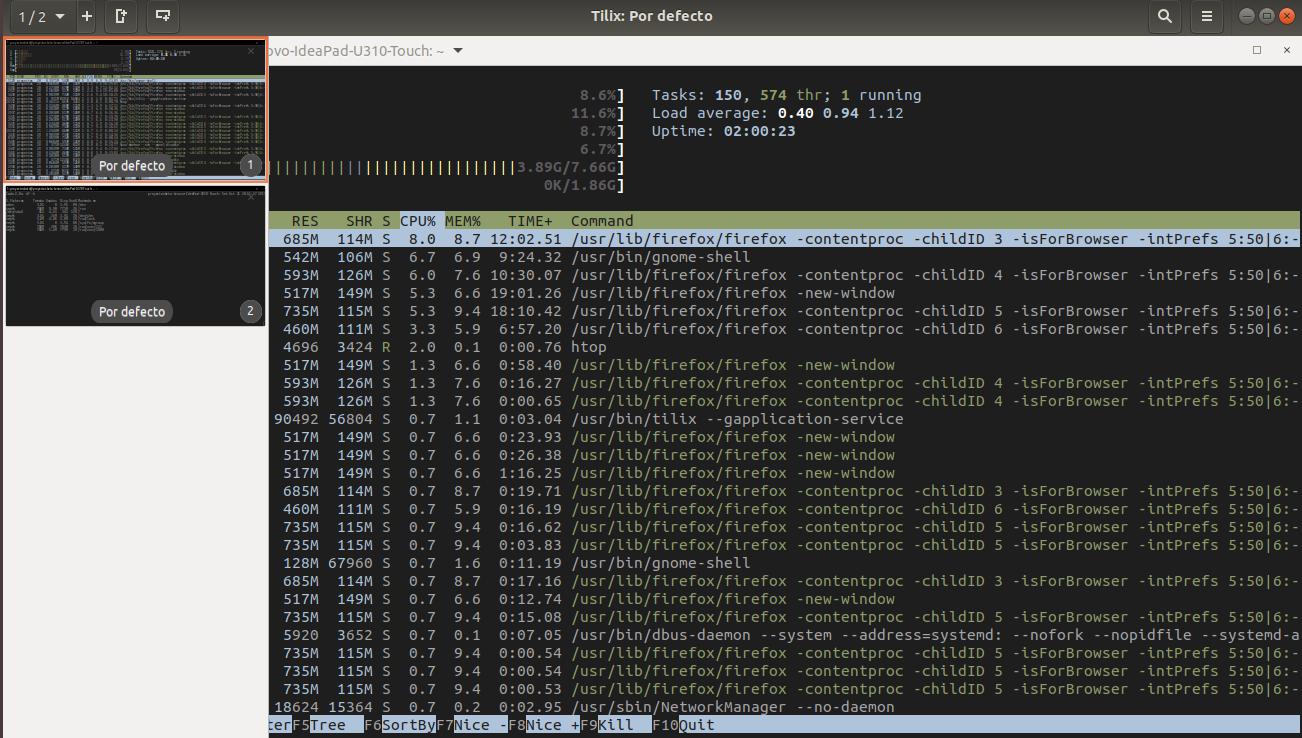 Tilix en Ubuntu 17.10 Artful Aardvark