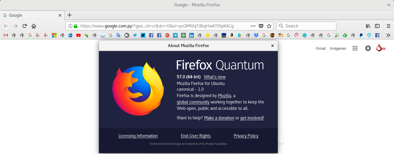 Mozilla Firefox 57 Quantum en Ubuntu 17.10 Artful Aardvark