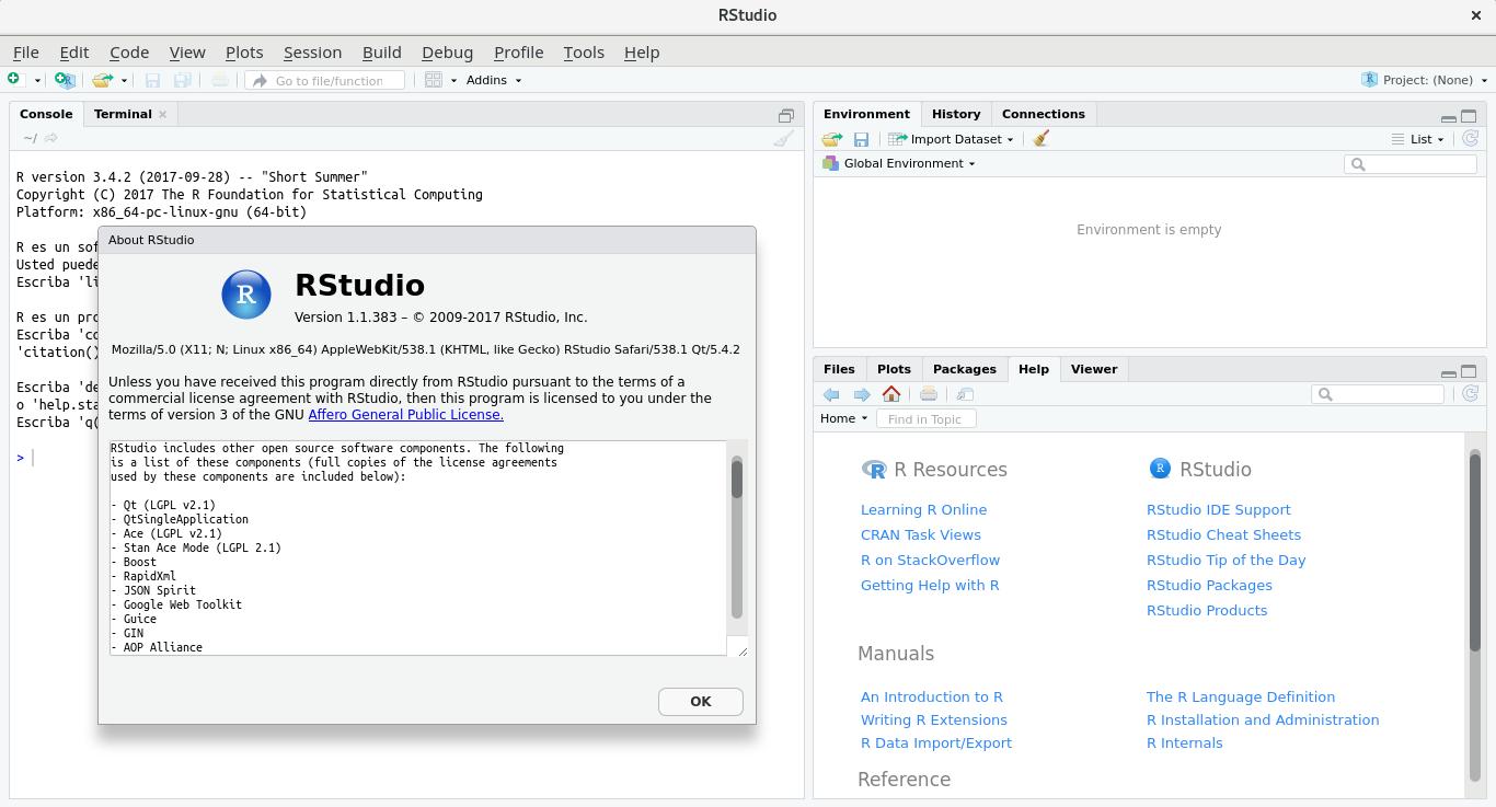 RStudio en Ubuntu 17.10 Ubuntu Artful Aardvark