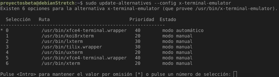 Cambiar el default emulador de terminal en Debian Stretch