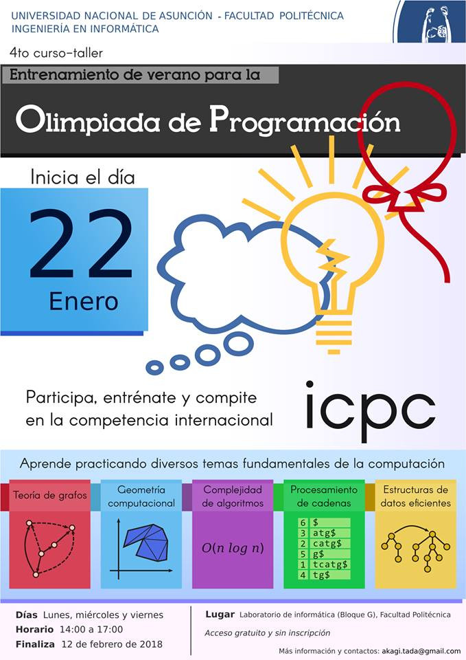 Entrenamiento de las Olimpiadas de programación ICPC en Asunción Paraguay