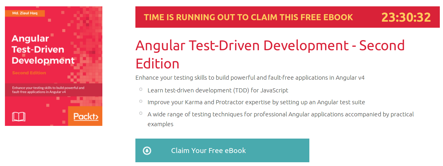 Angular Test-Driven Development - Second Edition, ebook gratuito disponible durante las próximas 23 horas